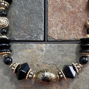 """Jewelry - Black & Gold, 12"""" Beaded Necklace, Antique-Looking"""